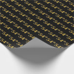[ Thumbnail: Black, Faux Gold 54th (Fifty-Fourth) Event Wrapping Paper ]
