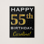 [ Thumbnail: Black, Faux Gold 55th Birthday + Custom Name Jigsaw Puzzle ]