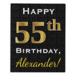 [ Thumbnail: Black, Faux Gold 55th Birthday + Custom Name Jigsaw Puzzle ]