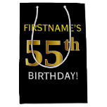 [ Thumbnail: Black, Faux Gold 55th Birthday + Custom Name Gift Bag ]