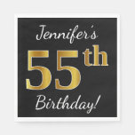 [ Thumbnail: Black, Faux Gold 55th Birthday + Custom Name Napkin ]