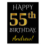 [ Thumbnail: Black, Faux Gold 55th Birthday + Custom Name Postcard ]