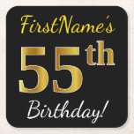 [ Thumbnail: Black, Faux Gold 55th Birthday + Custom Name Paper Coaster ]
