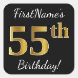 [ Thumbnail: Black, Faux Gold 55th Birthday + Custom Name Sticker ]