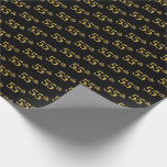 [ Thumbnail: Black, Faux Gold 55th (Fifty-Fifth) Event Wrapping Paper ]