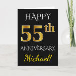 [ Thumbnail: Black, Faux Gold 55th Wedding Anniversary + Name Card ]