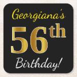 [ Thumbnail: Black, Faux Gold 56th Birthday + Custom Name Paper Coaster ]