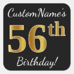 [ Thumbnail: Black, Faux Gold 56th Birthday + Custom Name Sticker ]