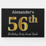 [ Thumbnail: Black, Faux Gold 56th Birthday Party + Custom Name Guest Book ]