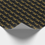 [ Thumbnail: Black, Faux Gold 56th (Fifty-Sixth) Event Wrapping Paper ]