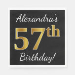 [ Thumbnail: Black, Faux Gold 57th Birthday + Custom Name Napkin ]