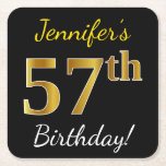 [ Thumbnail: Black, Faux Gold 57th Birthday + Custom Name Paper Coaster ]