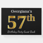 [ Thumbnail: Black, Faux Gold 57th Birthday Party + Custom Name Guest Book ]