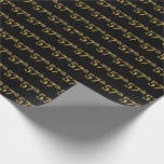 [ Thumbnail: Black, Faux Gold 57th (Fifty-Seventh) Event Wrapping Paper ]