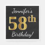 [ Thumbnail: Black, Faux Gold 58th Birthday + Custom Name Napkin ]