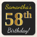 [ Thumbnail: Black, Faux Gold 58th Birthday + Custom Name Paper Coaster ]