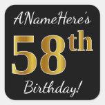 [ Thumbnail: Black, Faux Gold 58th Birthday + Custom Name Sticker ]
