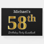 [ Thumbnail: Black, Faux Gold 58th Birthday Party + Custom Name Guest Book ]
