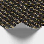 [ Thumbnail: Black, Faux Gold 58th (Fifty-Eighth) Event Wrapping Paper ]