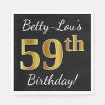 [ Thumbnail: Black, Faux Gold 59th Birthday + Custom Name Napkin ]