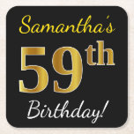 [ Thumbnail: Black, Faux Gold 59th Birthday + Custom Name Paper Coaster ]