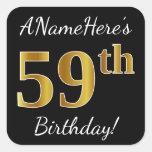[ Thumbnail: Black, Faux Gold 59th Birthday + Custom Name Sticker ]