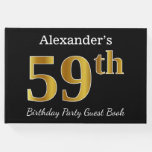 [ Thumbnail: Black, Faux Gold 59th Birthday Party + Custom Name Guest Book ]