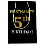 [ Thumbnail: Black, Faux Gold 5th Birthday + Custom Name Gift Bag ]