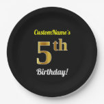 [ Thumbnail: Black, Faux Gold 5th Birthday + Custom Name Paper Plate ]