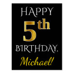 [ Thumbnail: Black, Faux Gold 5th Birthday + Custom Name Postcard ]
