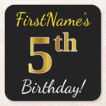 [ Thumbnail: Black, Faux Gold 5th Birthday + Custom Name Paper Coaster ]
