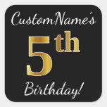 [ Thumbnail: Black, Faux Gold 5th Birthday + Custom Name Sticker ]