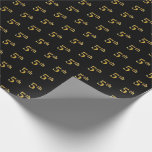 [ Thumbnail: Black, Faux Gold 5th (Fifth) Event Wrapping Paper ]