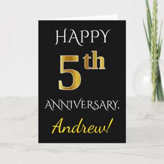 Black, Faux Gold 5th Wedding Anniversary   Name Card