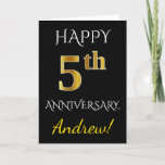 [ Thumbnail: Black, Faux Gold 5th Wedding Anniversary + Name Card ]