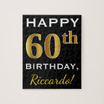 [ Thumbnail: Black, Faux Gold 60th Birthday + Custom Name Jigsaw Puzzle ]