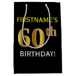 [ Thumbnail: Black, Faux Gold 60th Birthday + Custom Name Gift Bag ]