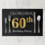 [ Thumbnail: Black, Faux Gold 60th Birthday + Custom Name Paper Placemat ]