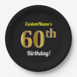 [ Thumbnail: Black, Faux Gold 60th Birthday + Custom Name Paper Plate ]