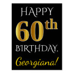 [ Thumbnail: Black, Faux Gold 60th Birthday + Custom Name Postcard ]