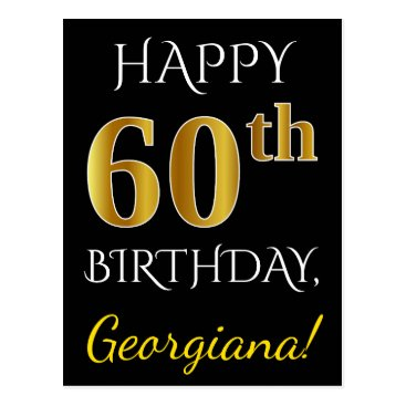 Beach Themed Black, Faux Gold 60th Birthday   Custom Name Postcard