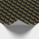 [ Thumbnail: Black, Faux Gold 60th (Sixtieth) Event Wrapping Paper ]