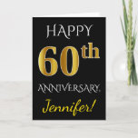 [ Thumbnail: Black, Faux Gold 60th Wedding Anniversary + Name Card ]