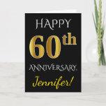 [ Thumbnail: Black, Faux Gold 60th Wedding Anniversary + Name Card ]