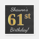 [ Thumbnail: Black, Faux Gold 61st Birthday + Custom Name Napkin ]
