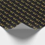 [ Thumbnail: Black, Faux Gold 61st (Sixty-First) Event Wrapping Paper ]
