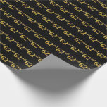 [ Thumbnail: Black, Faux Gold 62nd (Sixty-Second) Event Wrapping Paper ]