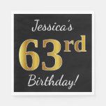 [ Thumbnail: Black, Faux Gold 63rd Birthday + Custom Name Napkin ]