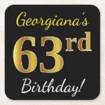 [ Thumbnail: Black, Faux Gold 63rd Birthday + Custom Name Paper Coaster ]