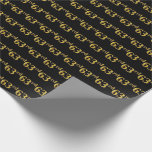 [ Thumbnail: Black, Faux Gold 63rd (Sixty-Third) Event Wrapping Paper ]